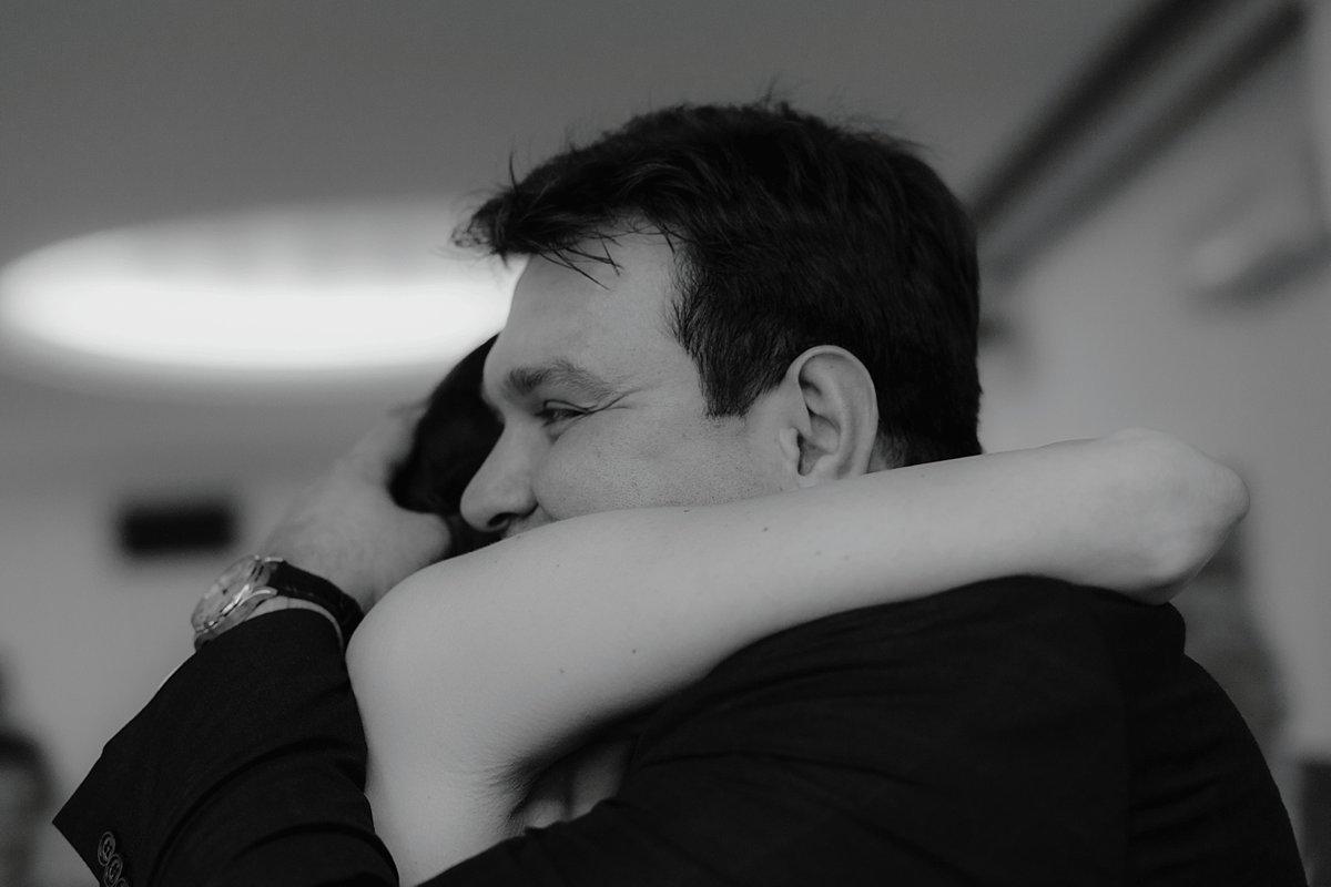wedding ceremony hug