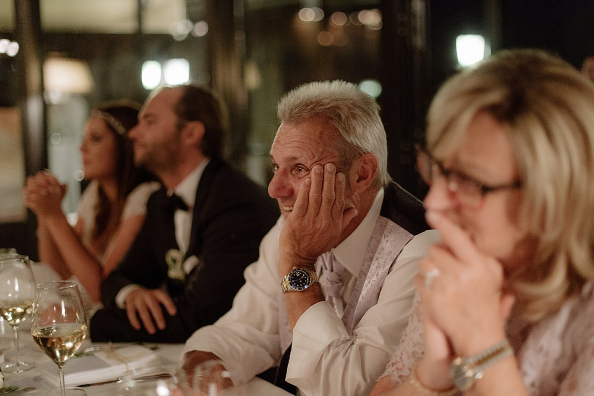 father looking at bride