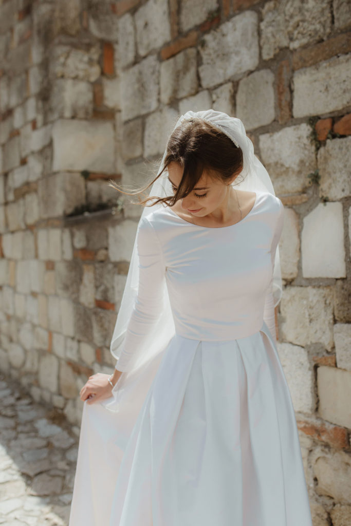 Simple and modern satin wedding dress photo