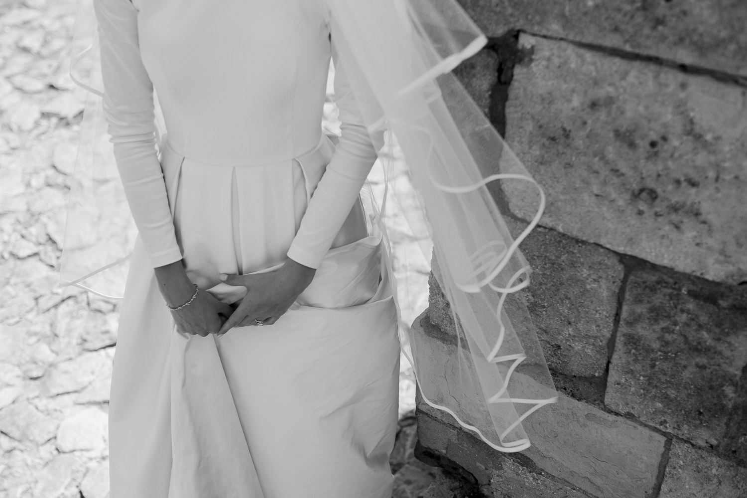 Modern satin wedding dress and veil