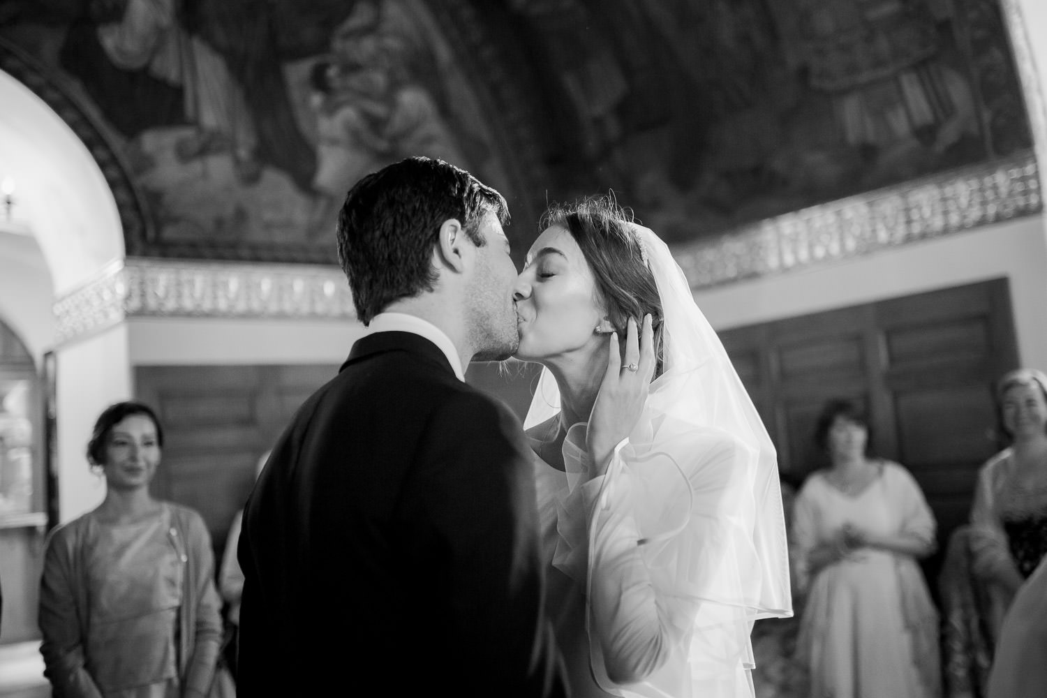 First kiss on the church wedding