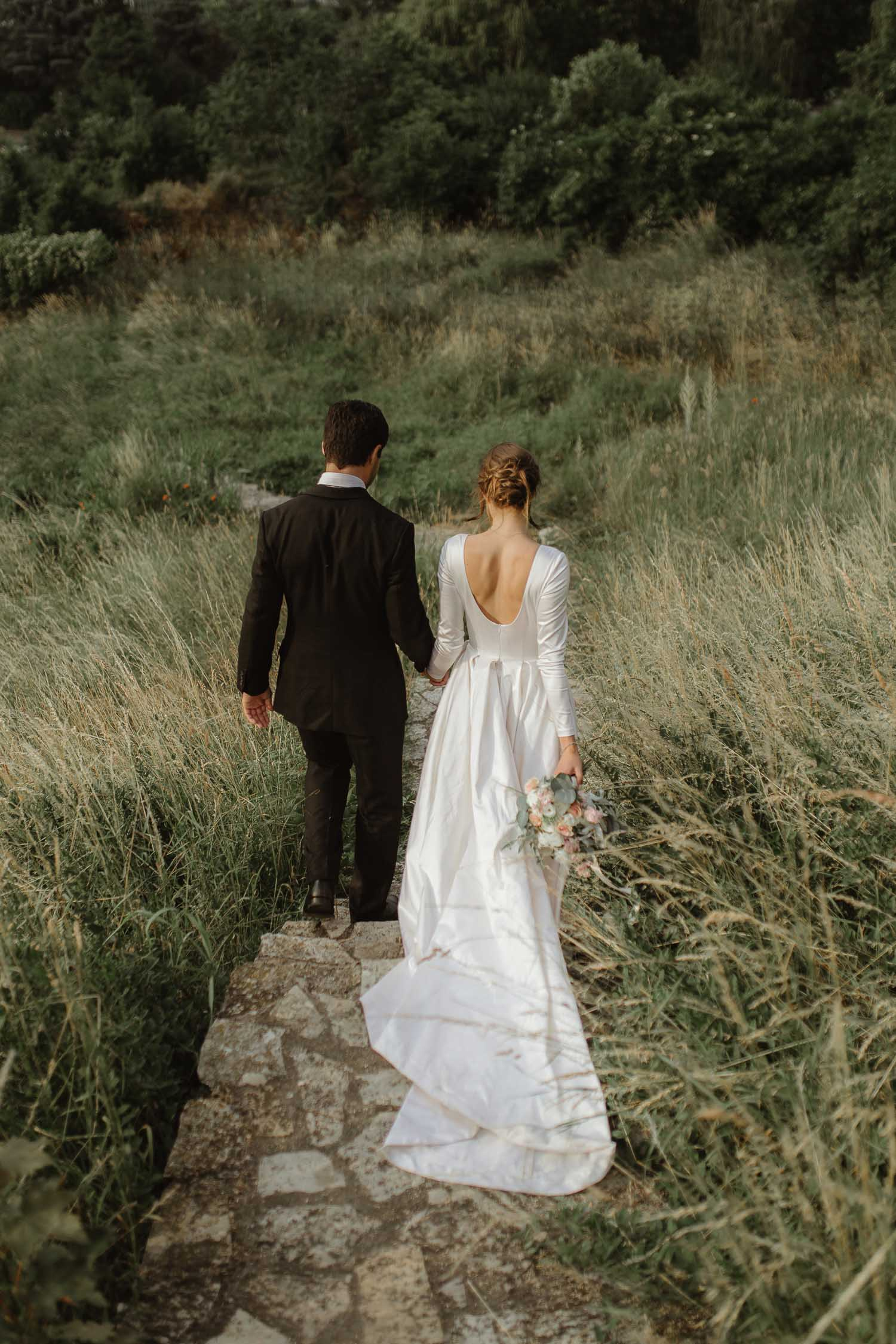 Long modern and simple lace wedding dress