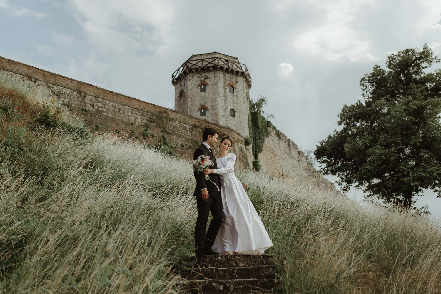 Historical fortress Kalemegdan destination wedding photo
